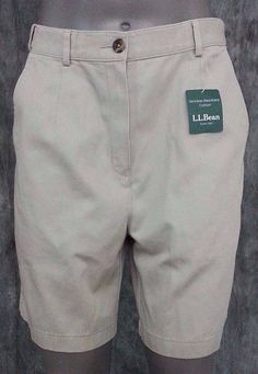 NWT L. L. Bean khaki chino shorts size 8 beige wrinkle resistant cotton  #LandsEnd #CasualShorts