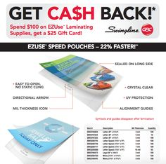 Spend $100 on EZUse Laminating Supplies and get a $25 Gift Card #rebate