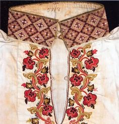 FolkCostume&Embroidery: East Telemark, Norway, embroidered shirts for Raudtrøye and Beltestakk Hardanger Embroidery, Folk Embroidery, Embroidery Designs, Scandinavian Embroidery, Russian Folk Art, Folk Clothing, Folk Fashion, Drawing Clothes, Folk Costume
