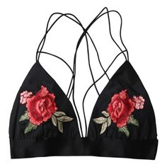 Floral Strappy Bralette Crop Top (39 BRL) ❤ liked on Polyvore featuring intimates, bras, tops, underwear, lingerie, strappy bras, bralette bra, strappy lingerie, bralette lingerie and crop bra