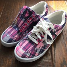 Polo plaid sneakers Ralph Lauren Polo Pink and Navy Plaid Sneaker. Size 9. Comes with both laces but shown with or without because I wore without laces. Excellent Condition. Super cute for spring/summer. Polo by Ralph Lauren Shoes Sneakers