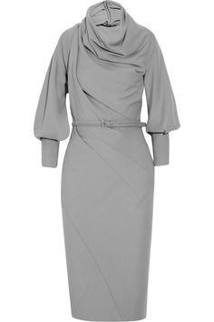 Belted wool-blend jersey dress by Donna Karan