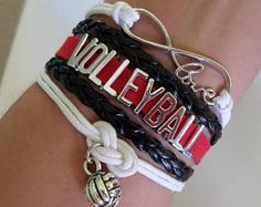 Volleyball bracelet, Volleyball gift, Volleyball jewelry, Volleyball Mom Gift , Sports Team jewelry, Infinity Volleyball, Black/White/Red
