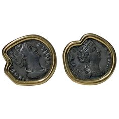 18 Karat Custom Mounted Ancient Coin Earrings, circa 1990 | From a unique collection of vintage more earrings at https://www.1stdibs.com/jewelry/earrings/more-earrings/