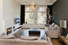 One grey wall, living room, Amsterdam