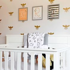 Personalize this adorable Honey Bee nursery print set with your newborns initial and name.