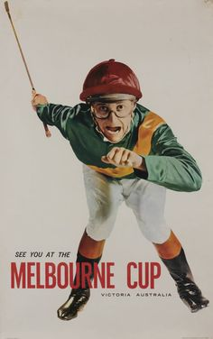 HORSE RACING - 1960s Melbourne Cup poster 'See You At The MELBOURNE CUP, Victoria, Australia' showing jockey (64x101cm), published by… / MAD on Collections - Browse and find over 10,000 categories of collectables from around the world - antiques, stamps, coins, memorabilia, art, bottles, jewellery, furniture, medals, toys and more at madoncollections.com. Free to view - Free to Register - Visit today. #Posters #Australia #MADonCollections #MADonC