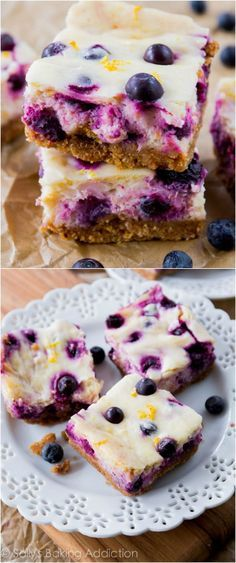 Creamy lemon cheesecake bars studded and swirled with blueberries. They're prepared on a simple 3 ingredient graham cracker crust and will absolutely be your new favorite dessert!