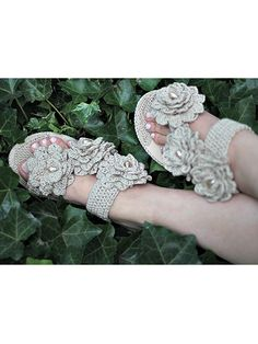 Crochet these lovely sandals using size 10 crochet cotton. Pattern includes detailed, step-by-step assembly instructions. You'll want to make them in all colors.