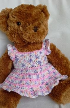 40 Ideas Crochet Baby Bear Outfit Doll Clothes For 2019 Crochet Doll Dress, Crochet Doll Clothes, Crochet Doll Pattern, Crochet Dresses, Crochet Patterns, Bear Patterns, Doll Patterns, Amigurumi Patterns, Knitting Patterns