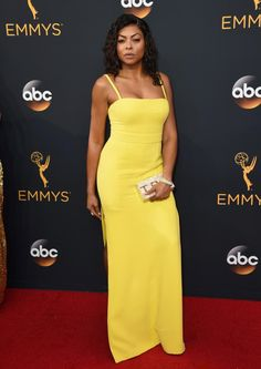 Taraji P. Henson donned a bright yellow dress on the red carpet at the 68th Primetime Emmy Awards.