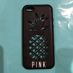 IPhone 5c Rubber Case Black case with cutout of pineapple. By PINK. I had a green 5c and it looked super cute with it! Very good condition! PINK Victoria's Secret Accessories Phone Cases
