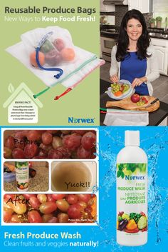 Resuable Product Bags:  Washable, mesh bags strong enough to carry a full load of fruits/veggies.  • Non-toxic materials won't leach harmful chemicals into food.  • Reusable and recyclable; reduces plastic waste. Fresh Produce Wash: Naturally clean fresh fruits and vegetables with this plant-based, biodegradable formula that removes chemical residues, waxes, dirt, oils and bacteria. • Free of phosphates, sulfates and parabens.