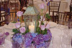 Blue Hydrangea w/Lantern Centerpiece