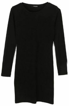 Black Round Neck Long Sleeve Whorl Dress pictures