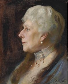 Philip Alexius de László, MVO (1869-1937) — Portrait of Princess Henry of Battenberg, née Princess Beatrice of Great Britain, in profile to the left, wearing a choker and drop earrings,1926 (517×640)