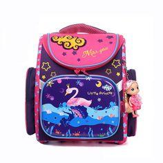New brand Girl Cartoon swan pattern School Bags 3D Cartoon printing Waterproof nylon Orthopedic boys and girls Backpack School
