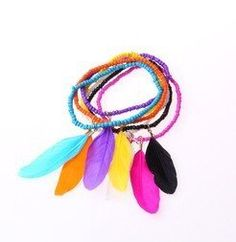 New fashion jewelry romantic little beads chain feather charm bracelet gift for women girl ladies' 1set6pcs B914 * Click image for more details.