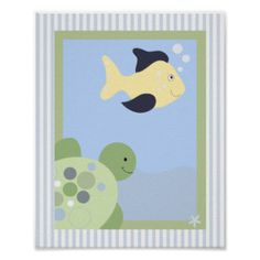 REEF TURTLE FISH 8x10 BABY NURSERY ROOM PRINT