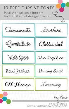 Free Cursive Fonts Kendra John Designs - Fonts - Ideas of Fonts - Free Cursive Fonts from my secret design stash! Typography Fonts, Typography Design, Hand Lettering, Lettering Ideas, Fancy Fonts, Cool Fonts, Awesome Fonts, Free Cursive Fonts, Cursive Handwriting