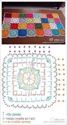 Granny Square Crochet Diamond in a Square Crochet pattern. - Diamond in a Square Crochet pattern. Point Granny Au Crochet, Granny Square Crochet Pattern, Crochet Diagram, Crochet Chart, Crochet Squares, Crochet Stitches, Filet Crochet, Crochet Diy, Crochet Motif Patterns