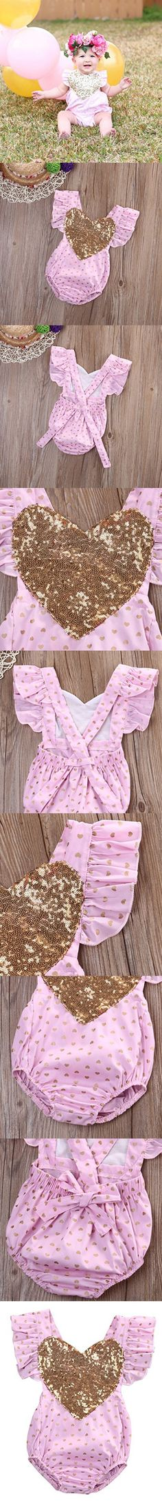 Baby Girl Gold Heart Print Bodysuit Romper Jumpsuit Outfits Playsuit Clothes (0-6months, Pink)