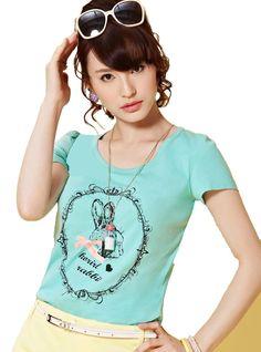 Amazon.co.jp: (ムンバサ)Moonbasaレディース丸首半袖Tシャツ みどり&黄色二色 可愛いうさぎプリント ファッション スウィーツ: 服&ファッション小物通販