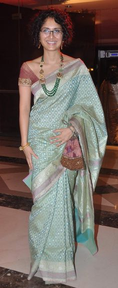 Kiran Roy in light blue banaras silk saree
