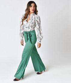 Unique Vintage 1970s Style Green Bell Bottom Pants