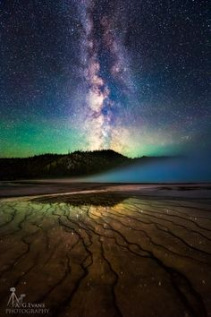 This image of the Milky Way from the edge of the Grand Prismatic Spring in the Midway Geyser Basin in Yellowstone on June 27, 2015.