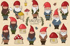 Gnomes by Clipick Ballon Animals, Baumgarten, Scandinavian Gnomes, Mushroom Art, Gnome House, Hippie Art, Gnome Garden, Pottery Painting, Fantasy Creatures
