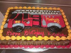 1/4 Sheet Firetruck Drawing Cake