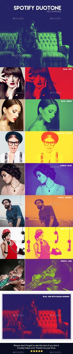 Buy Spotify Duotone Template by Hasan_Sumon on GraphicRiver. Features 7 Different Duotone photo effect Template size is 300 dpi and RGB color mode Well organized laye. Photoshop Photos, Photoshop Design, Photoshop Photography, Photoshop Actions, Web Design, Tool Design, Layout Design, Design Art, Graphic Design Posters