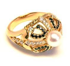 bague or rose, perle akoya diamants blancs et spinelles noirs