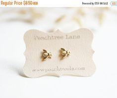 LABOR DAY SALE Tiny Brass Bee Earrings >> Honeybee Post Earrings <<…