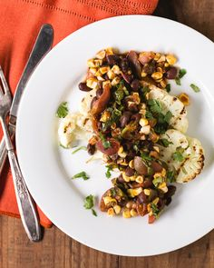 Grilled Cauliflower Steaks with Fresh Corn and Black Bean Salsa | a Couple Cooks