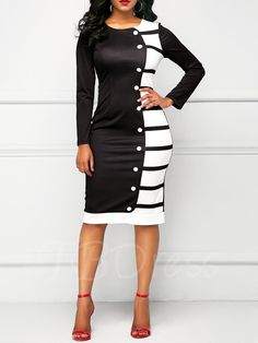 Striped Single-Breasted Women's Sheath Dress - m.tbdress.com