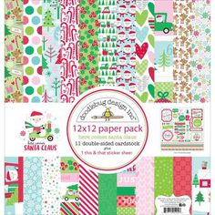 "Doodlebug Design Here Comes Santa Claus Collection 12"" x 12"" Scrapbook Paper…"