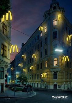 Print advertisement created by DDB, Austria for McDonald's, within the category: Food. Clever Advertising, Advertising Poster, Advertising Campaign, Advertising Design, Marketing And Advertising, Marketing Tools, Street Marketing, Guerilla Marketing, Mc Donald Ads