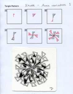 Xplode. Zentangle Pattern (Aura Variation 1) by Margaret McKerihan.