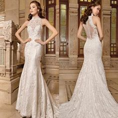 2015 New Arrival Mermaid Wedding Dresses High Neck Sleeveless Hollow Back Appliques Custom Ivory Bridal Gowns With Sweep Train Online with $141.37/Piece on Weddinggirlsdress's Store | DHgate.com