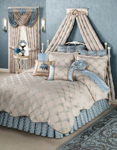 Enjoy deep and peaceful sleep in the sunny embrace of Blooming Treillage Floral Comforter Bedding. Oversized, jacquard-woven, polyester comforter has a periwinkle and jade green floral trellis pattern on bisque. White Comforter Bedroom, Floral Comforter, Comforter Sets, Duvet, Neutral Bedding, Bed Ensemble, Bed Crown, Blue Rooms, Cozy Bed