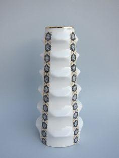 Mid century porcelain vase, Danish style vintage black & white vase, Spanish vintage vase