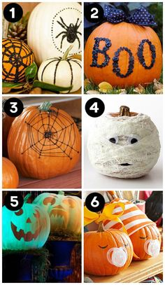 Super fun pumpkin decorating ideas, love that they have no-carve and pumpkin carving ideas!  The glow in the dark jack-o-lantern is genius!!