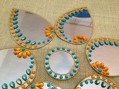 Designer Mirror Modular Kundan Rangoli in Aqua and Golden theme
