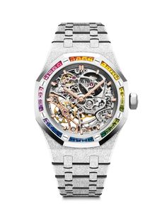 """Audemars Piguet [NEW] Frosted Gold """"Snow Rainbow"""" Double Balance Wheel Openworked Tambour, Style Sportif Chic, Luxury Watches, Rolex Watches, Bling Bling, Cool Watches, Watches For Men, Fleurier, Audemars Piguet Royal Oak"""