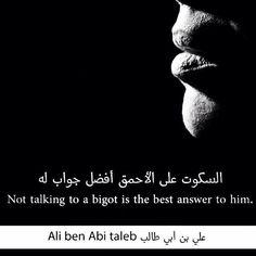 """""""السكوت على الأحمق أفضل حواب له """" ~ الإمام علي ( عليه السلام ) ~"""