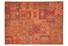 One Kings Lane - Calm, Cool & Collected - Patchwork Kilim Rug, Flame