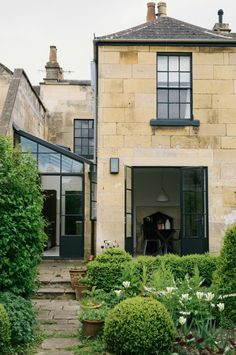 The property we fitted the Sebastian Cox kitchen in was a beauty. Located in Bath, the owners decided to install an extension using Crittall style windows and doors and fitted the kitchen in this newly formed glass room. Orangerie Extension, Crittal Doors, Old French Doors, English Country Kitchens, Devol Kitchens, Dream Kitchens, Glass Extension, Extension Ideas, Traditional Baths