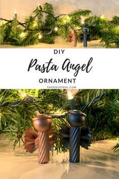 DIY Pasta Angel Ornament to make this Christmas. An cheap and easy Christmas craft. Diy Christmas Angel Ornaments, Easy Christmas Crafts, Ornament Crafts, Christmas Angels, Christmas Projects, Family Christmas, Simple Christmas, Christmas Decorations, Christmas Ideas